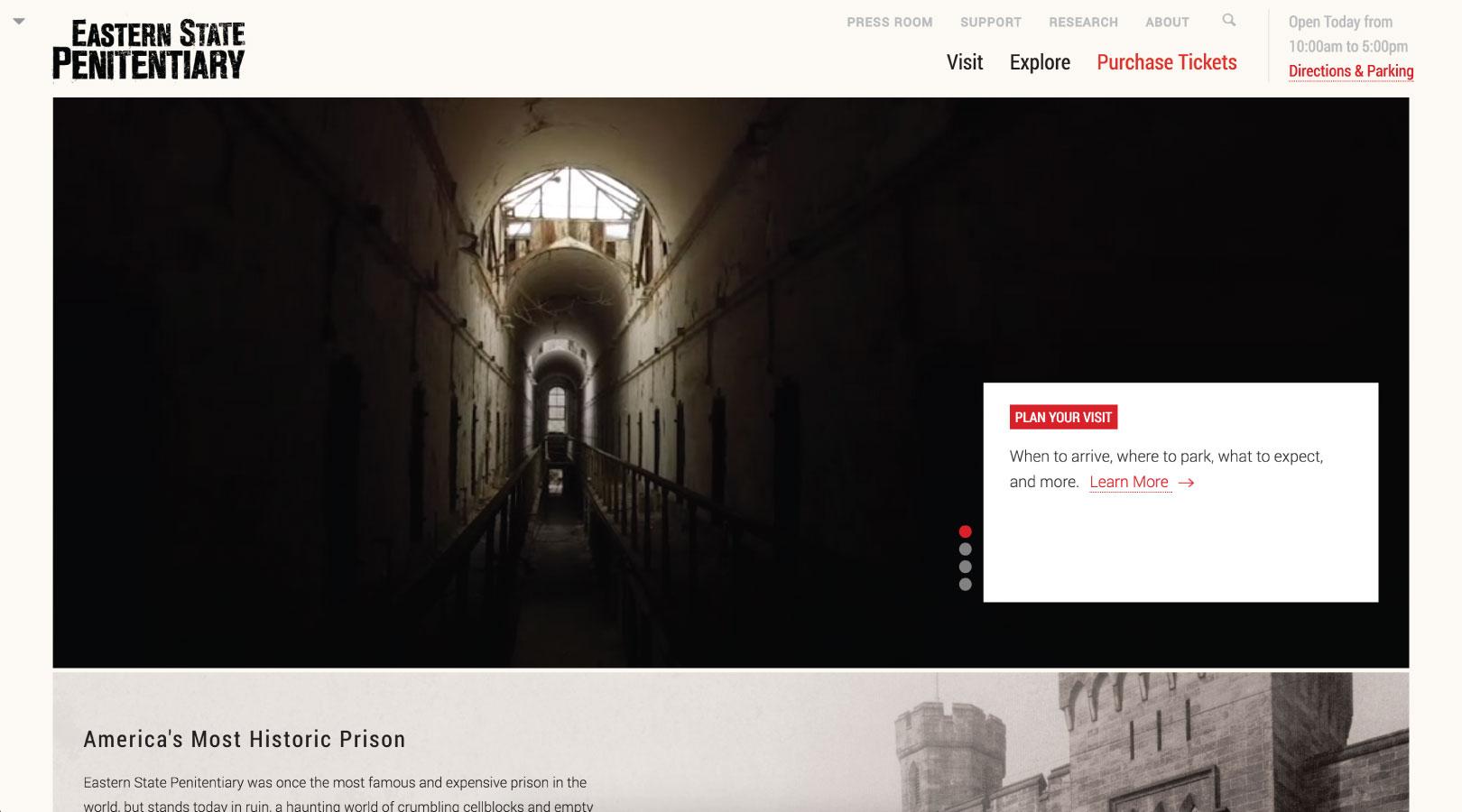 Eastern State Penitentiary Website
