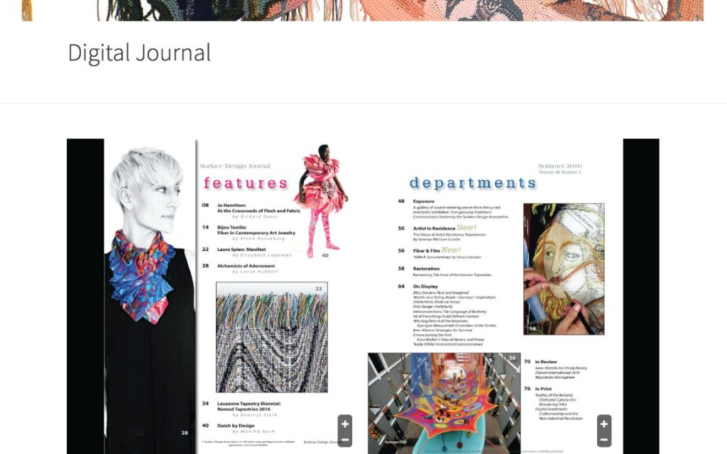 Surface Design Association Website Screen