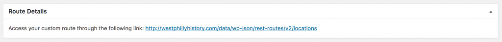 Screenshot from WordPress REST API setup